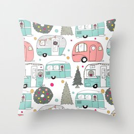 Retro Christmas Campers Throw Pillow