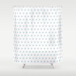 Dove gray stars on white pattern Shower Curtain