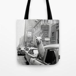 Llama Riding In Taxi Tote Bag