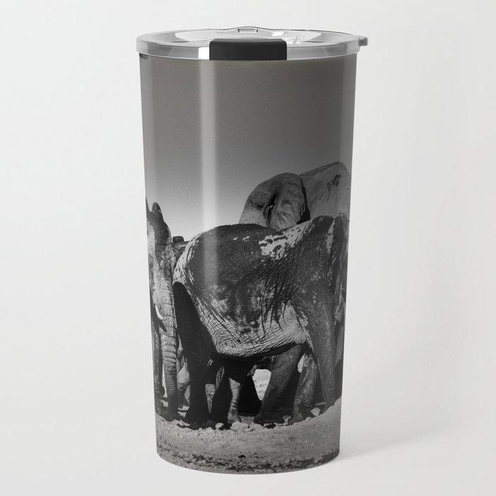 Elephant Herd Circling Travel Mug