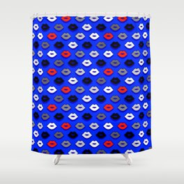 Lips on Ultramarine Pattern Shower Curtain