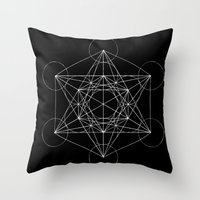 sacred geometry Throw Pillows featuring Sacred Geometry Print 4 by poindexterity
