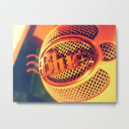 Blue Snowball Microphone Metal Print