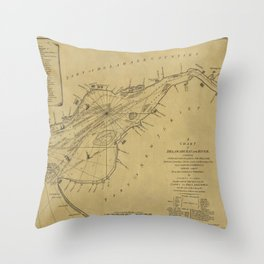 Map of Delaware Bay 1776 Throw Pillow