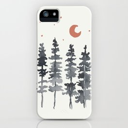 Nighttime Watercolor Forest iPhone Case