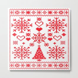 Christmas Cross Stitch Embroidery Sampler Red And White Metal Print