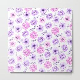 Modern hand painted purple pink watercolor floral pattern Metal Print