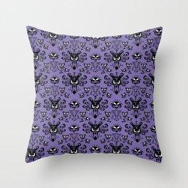 Purple Haunted Mansion Wallpaper Throw Pillow