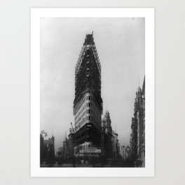 Old NYC Flat Iron Building Construction Photograph Art Print