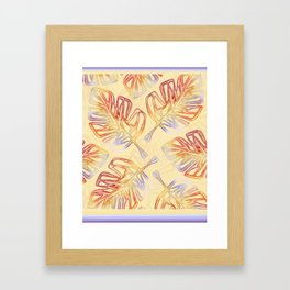 Autumn Leaves with trim on Buttercream - from the Lilac Buttercup colour palette collecti Framed Art Print