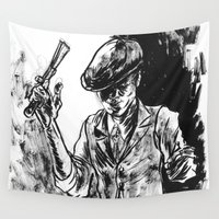 gangster Wall Tapestries featuring One Armed Gangster by Rhys Prosser