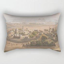 Vintage Cairo Egypt & Giza Pyramids Illustation Rectangular Pillow