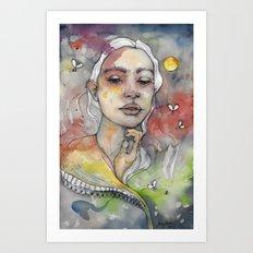 Full moon, watercolor art Art Print
