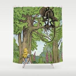 Alice Meets The Alien in Wonderland Shower Curtain