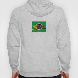 Old Vintage Acoustic Guitar with Brazilian Flag Hoody