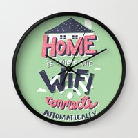risa rodil Wall Clocks featuring Home Wifi by Risa Rodil