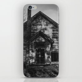 School's Out - Abandoned Schoolhouse in Iowa in Black and White iPhone Skin