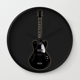 Black semi-acoustic guitar against a solid gray background | Vector digital art Wall Clock