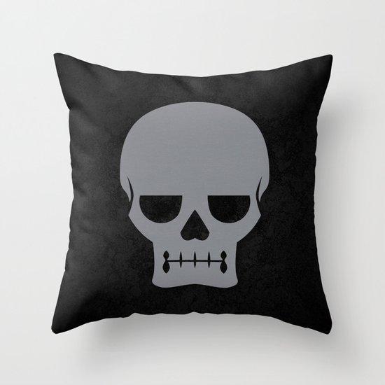 Gray Skull Throw Pillow