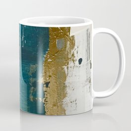 Rain [3]: a minimal, abstract mixed-media piece in blues, white, and gold by Alyssa Hamilton Art Coffee Mug