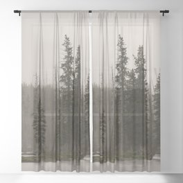 Yellowstone River - Foggy Forest Nature Photography Sheer Curtain