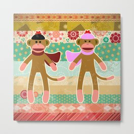 Cute Sock Monkey on Cloth Pattern Metal Print