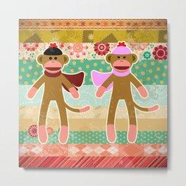 Cute Sock Monkey on Cloth Pattern Metal Print
