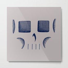 Skull Linework (Dark Blue / Gray) Metal Print