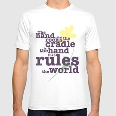The Hand that Rocks the Cradle (Alternate Version) White MEDIUM Mens Fitted Tee