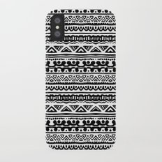 Ethnic stripes in black and white iPhone X Slim Case