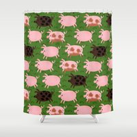 pigs Shower Curtains featuring Pigs by Paper Bicycle