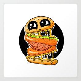 Fast Food FRENZY - Cheezy Vegan Vegetarian Vicky Burger Art Print
