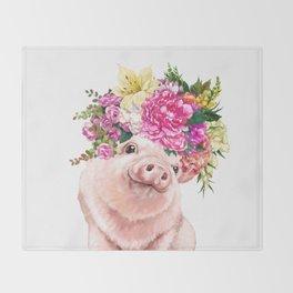 Flower Crown Baby Pig Throw Blanket