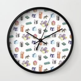 Birthday Presents Colour by Chrissy Curtin Wall Clock