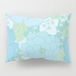 Light Blue Pastel Vintage Floral Pattern Pillow Sham