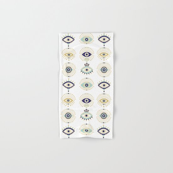 Evil Eye Collection on White Hand & Bath Towel