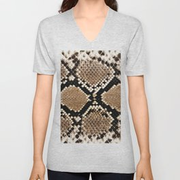 Pastel brown black white snakeskin animal pattern Unisex V-Neck