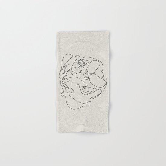 One Line Pug Hand & Bath Towel