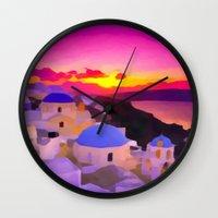 greece Wall Clocks featuring Greece  by Xchange Art Studio