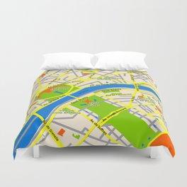 Paris map design Duvet Cover