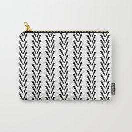 Linocut abstract minimal chevron pattern basic black and white decor Carry-All Pouch