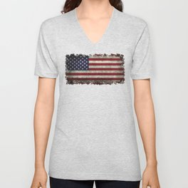American Flag, Old Glory in dark worn grunge Unisex V-Neck