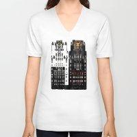 building V-neck T-shirts featuring Radiator Building by Steve W Schwartz Art