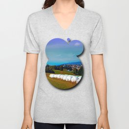 Hay bales, clouds and some scenery Unisex V-Neck