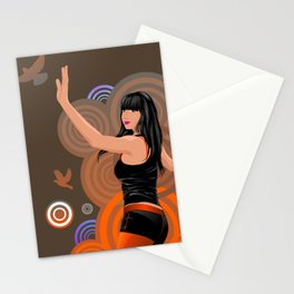 Dancing girl with doves Stationery Cards