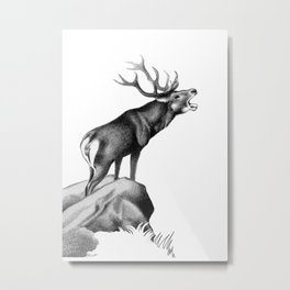 Stag Roaring in the Rut Metal Print
