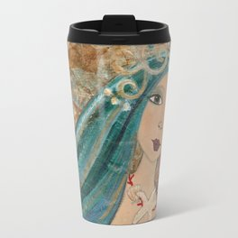 """She Missed The Sea"" Original Painting by Krista J. Brock Travel Mug"