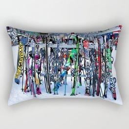 Ski Party - Skis and Poles Rectangular Pillow