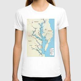 Captain John Smith Chesapeake National Historic Trail Map (2007) Virginia & Maryland Bay Exploration T-shirt
