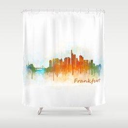 Frankfurt am Main, City Cityscape Skyline watercolor art v3 Shower Curtain